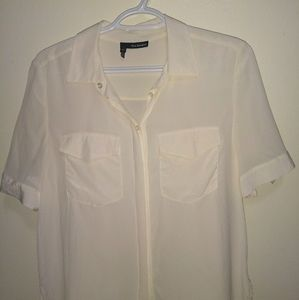 The Kooples Cream Silk Cropped Button Up